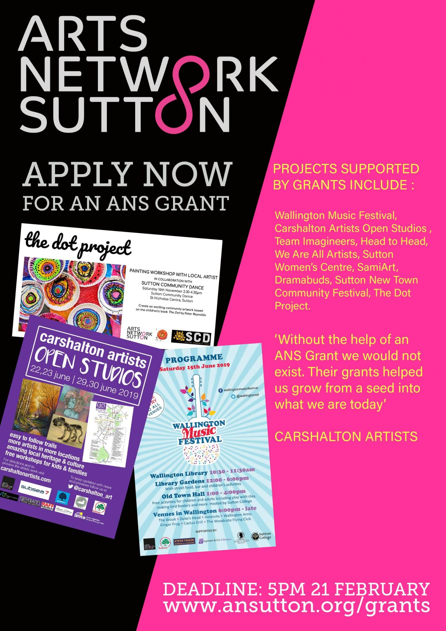 Deadline getting closer for grants of up to £1,000 from Arts Network Sutton