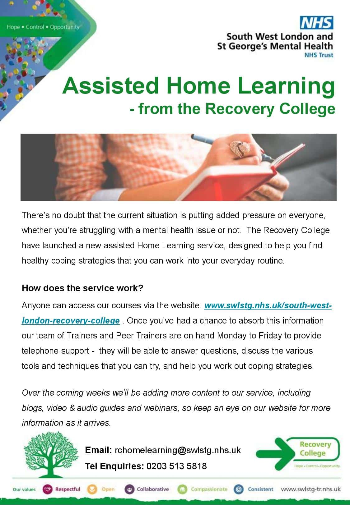 Recovery College establishes Home Learning service to help with coping strategies in this current situation